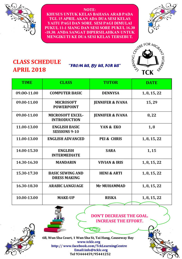TCKLC Classes Schedule